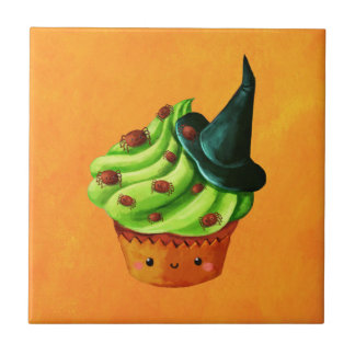 Halloween Cupcake full of tiny spiders Tile
