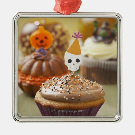 Halloween cupcake metal ornament