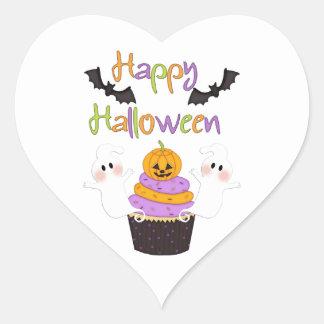 Halloween Cupcake Sign Heart Sticker