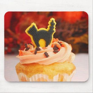 Halloween Cupcake With Fall Foliage Mouse Pad