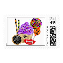 Halloween Cupcakes and Candy Postage Stamps