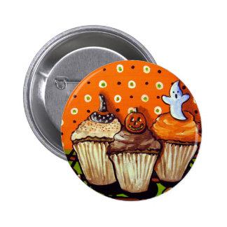 Halloween Cupcakes Orange Background Pinback Button