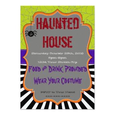 Halloween Themed Halloween Custom Party-Silver Web Orange Frame Card