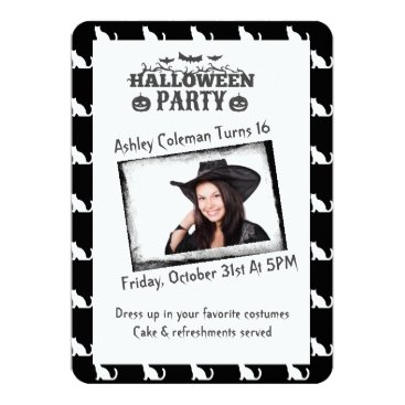 Halloween Themed Halloween Custom Photo Birthday Party Card