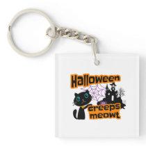 Halloween Cute Black Cat square Keychain