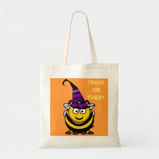 halloween cute cartoon bumble bee with witch hat tote bag