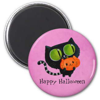 Halloween Cute Cat with pumpkin 2 Inch Round Magnet