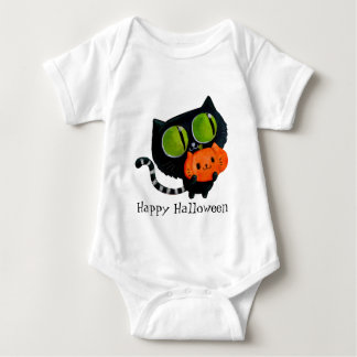 Halloween Cute Cat with pumpkin Baby Bodysuit