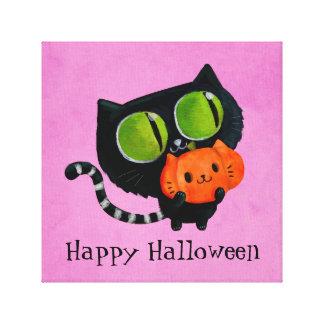 Halloween Cute Cat with pumpkin Canvas Print