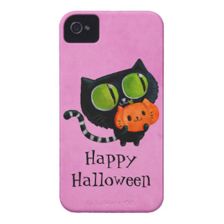 Halloween Cute Cat with pumpkin iPhone 4 Cover