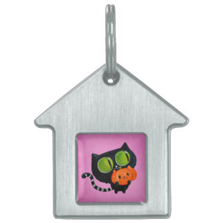 Halloween Cute Cat with pumpkin Pet Name Tag