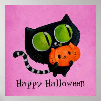 Halloween Cute Cat with pumpkin Poster