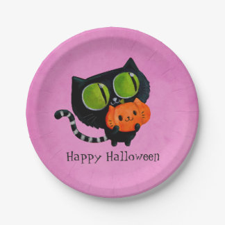 Halloween Cute Cat with pumpkin 7 Inch Paper Plate