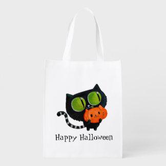 Halloween Cute Cat with pumpkin Reusable Grocery Bags