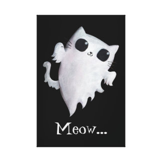 Halloween cute ghost cat canvas print