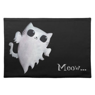 Halloween cute ghost cat cloth placemat