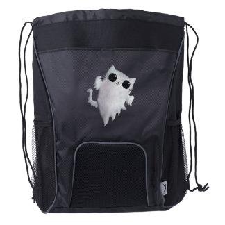 Halloween cute ghost cat drawstring backpack