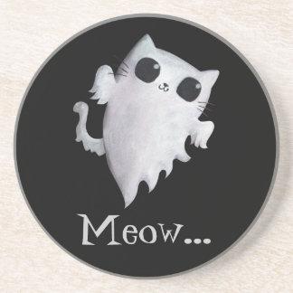 Halloween cute ghost cat drink coaster