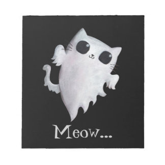 Halloween cute ghost cat notepad