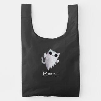 Halloween cute ghost cat reusable bag