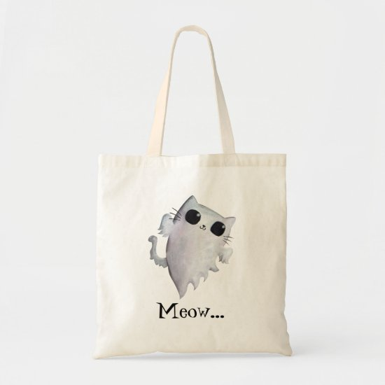 Halloween cute ghost cat tote bag