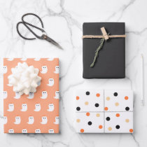 Halloween Cute Ghosts Black and Orange Wrapping Pa Wrapping Paper Sheets