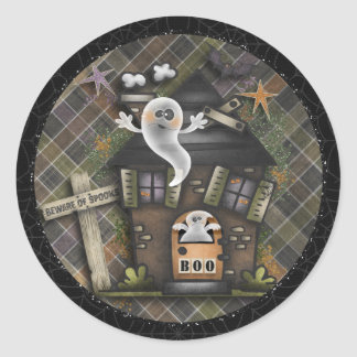 Halloween - Cute Haunted Ghost House (1) Classic Round Sticker