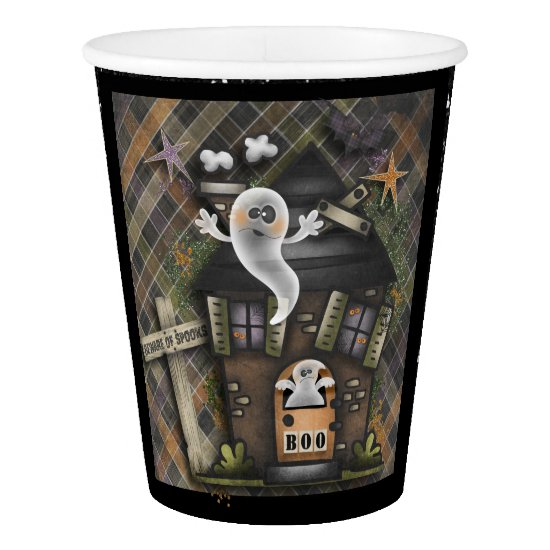 Halloween - Cute Haunted Ghost House (1) Paper Cup