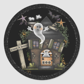 Halloween - Cute Haunted Ghost House (2) Classic Round Sticker