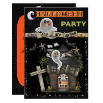Halloween - Cute Haunted Ghost House (2) Invitation