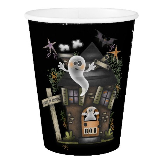 Halloween - Cute Haunted Ghost House (2) Paper Cup