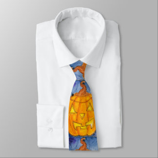 Halloween Cute Jack O'Lantern Pumpkin Spider Web Neck Tie