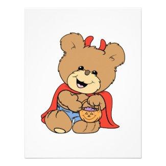 halloween cute little devil teddy bear carrying jack o lantern postcard
