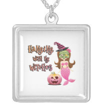 Halloween Cute Mermaid Witch square Silver Plated Necklace