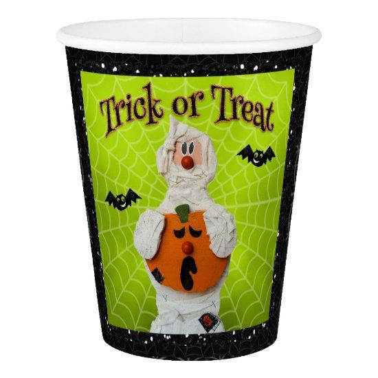 Halloween - Cute Mummy and Pumpkin Paper Cup