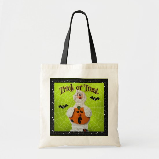 Halloween - Cute Mummy and Pumpkin Tote Bag