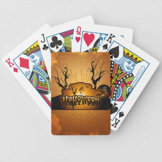 Halloween, cute owl bicycle poker cards