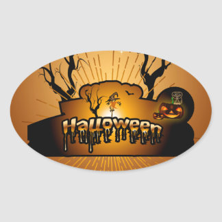 Halloween, cute owl oval sticker