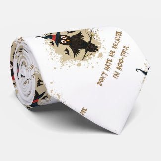 Halloween cute owl with witches hat neck tie