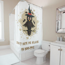 Halloween cute owl with witches hat shower curtain