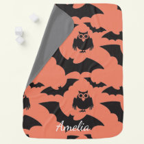 Halloween Cute Owls and Bats Pumpkins Baby Blanket