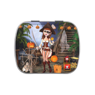 Halloween Cute Pirate Girl Candy Tins