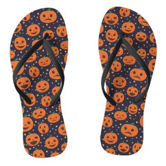 Halloween Cute Pumpkin Pattern Jack-O-Lantern Flip Flops