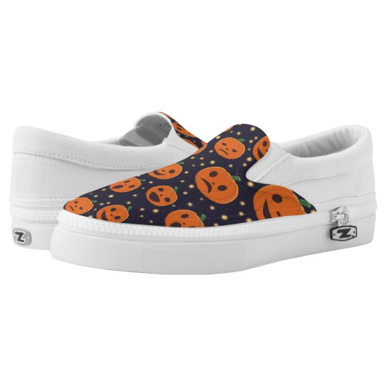 Halloween Cute Pumpkin Pattern Jack-O-Lantern Slip-On Sneakers