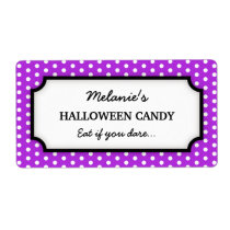 Halloween cute purple polka dots canning jar label shipping label