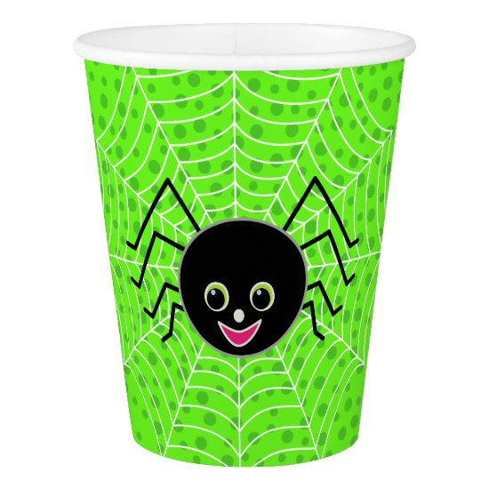 Halloween Cute Spider on Web Paper Cup
