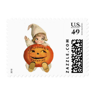 Halloween Cute Vintage Girl with Pumpkin Postage
