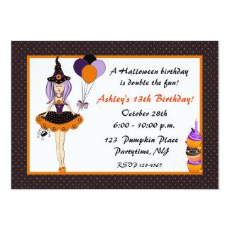 Halloween Cute Witch Birthday Invitation