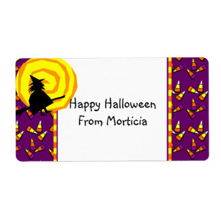 Halloween Cute Witch Candy Pattern Custom Label