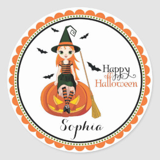 Halloween cute witch goodie bag favor stickers